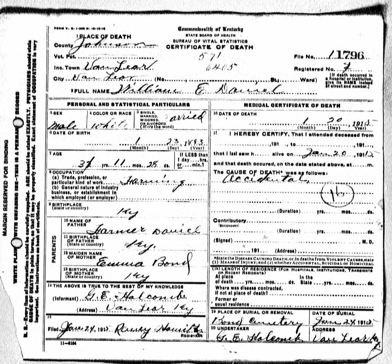 William e daniel and sarah cathern wright 19 death certificate for william 1betcityfo Images